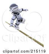 Royalty Free RF Clipart Illustration Of A 3d Robot Nearlying Falling On A Tight Rope