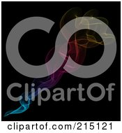 Royalty Free RF Clipart Illustration Of Rising Rainbow Smoke Over Black