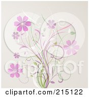 Royalty Free RF Clipart Illustration Of A Background Of Pink Flowers And Grasses Over Pink