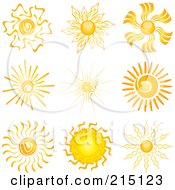 Royalty Free RF Clipart Illustration Of A Digital Collage Of Nine Summer Sun Designs