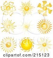 Digital Collage Of Nine Summer Sun Designs