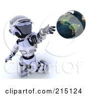 Royalty Free RF Clipart Illustration Of A 3d Robot Presenting A Globe