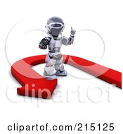 Royalty Free RF Clipart Illustration Of A Red Arrow Turning Around A 3d Robot