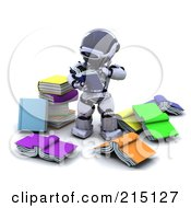 Royalty Free RF Clipart Illustration Of A 3d Robot Reading Through Books by KJ Pargeter