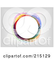 Royalty Free RF Clipart Illustration Of A Colorful Circle With Transparent Bubbles Over Gray And White by KJ Pargeter