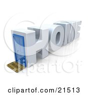 Clipart Illustration Of A Residential House In The Shape Of Text Reading Home With A Welcome Mat At The Blue Front Door On A Reflective White Background by 3poD