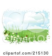 Royalty Free RF Clipart Illustration Of A Bubbly White Border Around Butterflies And Flowers In A Hilly Landscape by KJ Pargeter