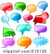 Royalty Free RF Clipart Illustration Of A Digital Collage Of Shiny Colorful Speech Balloon Icons by KJ Pargeter