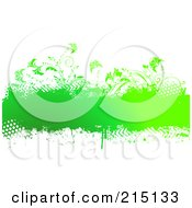 Royalty Free RF Clipart Illustration Of A Grungy Green Text Bar With Plants