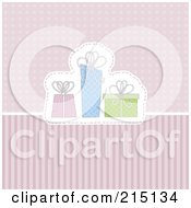 Pink Blue And Green Presents Over Dots And Stripes
