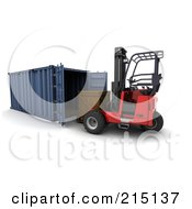 Royalty Free RF Clipart Illustration Of A 3d Forklift Loading A Crate Into A Container by KJ Pargeter
