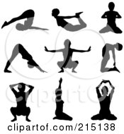 Royalty Free RF Clipart Illustration Of A Digital Collage Of Nine Silhouetted Women In Yoga Poses by KJ Pargeter