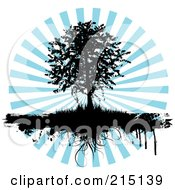 Royalty Free RF Clipart Illustration Of A Black Silhouetted Tree With Grasses Dripping Over A Blue Burst