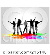 Royalty Free RF Clipart Illustration Of A Silhouetted Dancers Partying Over Colorful Splatters