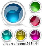 Royalty Free RF Clipart Illustration Of A Digital Collage Of Six Shiny Colorful App Buttons With Shadows by KJ Pargeter