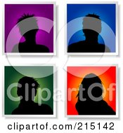 Royalty Free RF Clipart Illustration Of A Digital Collage Of Four Male And Female Avatar Silhouettes