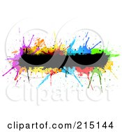 Royalty Free RF Clipart Illustration Of A Grungy Black Bar Over Colorful Splatters