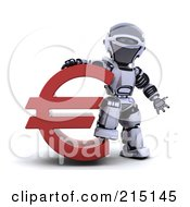 Royalty Free RF Clipart Illustration Of A 3d Robot Standing By A Red Euro