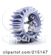 Royalty Free RF Clipart Illustration Of A 3d Robot Running In A Cog