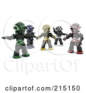 Royalty Free RF Clipart Illustration Of A Group Of Diverse 3d Robots
