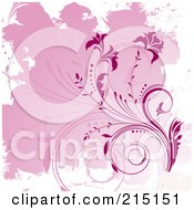 Royalty Free RF Clipart Illustration Of A Background Of Pink Flowers And Grunge On White