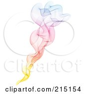 Royalty Free RF Clipart Illustration Of Rising Rainbow Smoke Over White by KJ Pargeter