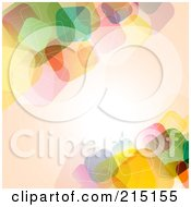 Royalty Free RF Clipart Illustration Of A Pastel Peach Colored Background With Transparent Colorful Squares