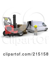 Royalty Free RF Clipart Illustration Of A 3d Forklift Driver Loading Boxes In A Van by KJ Pargeter
