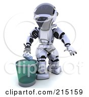 Royalty Free RF Clipart Illustration Of A 3d Robot Putting A Soda Can In A Bin by KJ Pargeter