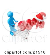 Blue Person Pushing A Chrome Shopping Cart With A Half Off Item And A Santa Hat