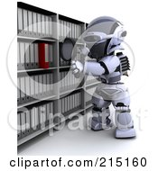 Royalty Free RF Clipart Illustration Of A 3d Robot Looking For A Folder In Archives by KJ Pargeter