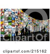 Royalty Free RF Clipart Illustration Of A Silhouetted People Viewing Screens Over Black by KJ Pargeter