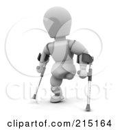 3d White Character Using Crutches After An Amputation