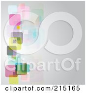 Royalty Free RF Clipart Illustration Of A Gray Background With Transparent Colorful Squares