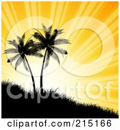 Royalty Free RF Clipart Illustration Of Sun Rays Shining Behind Silhouetted Palm Trees On A Hill