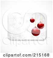 Royalty Free RF Clipart Illustration Of A Christmas Gift Card With Red Baubles And Snowflakes