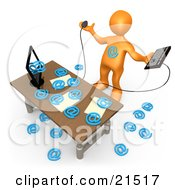 Clipart Illustration Of An Overwhelmed Orange Person Being Attacked By At Symbols Coming Out Of A Computer In An Office Symbolizing Computer Viruses Or Email Spamming