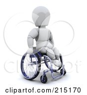 Royalty Free RF Clipart Illustration Of A 3d White Character Using A Wheelchair