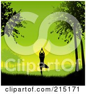 Royalty Free RF Clipart Illustration Of A Silhouetted Yoga Woman Against A Green Dawn