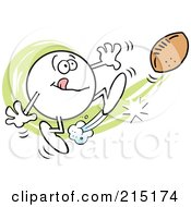 Royalty Free RF Clipart Illustration Of A Moodie Character Kicking A Football