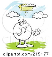 Royalty Free RF Clipart Illustration Of A Moodie Character Looking At The Pie In The Sky by Johnny Sajem
