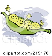 Royalty Free RF Clipart Illustration Of Four Waving Peas In A Pod by Johnny Sajem
