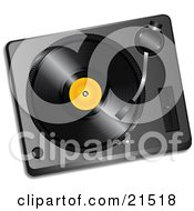 Clipart Illustration Of A Black Vinyl Record With A Yellow Label Spinning In A Record Player by elaineitalia