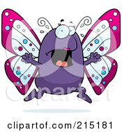 Royalty Free RF Clipart Illustration Of A Scared Butterfly Panicking by Cory Thoman