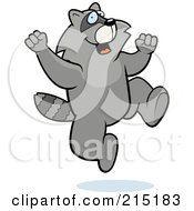 Royalty Free RF Clipart Illustration Of An Excited Raccoon Jumping
