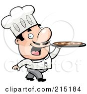Royalty Free RF Clipart Illustration Of A Pizzeria Chef Walking With A Pizza Pie On A Platter by Cory Thoman