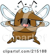 Royalty Free RF Clipart Illustration Of A Scared Mosquito Panicking by Cory Thoman