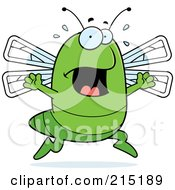Royalty Free RF Clipart Illustration Of A Scared Dragonfly Panicking by Cory Thoman