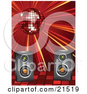 Clipart Illustration Of A Shiny Red Disco Ball Spinning And Casting Light Over Speakers At A Dance Party