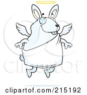 Royalty Free RF Clipart Illustration Of A Flying Angel Rabbit With A Halo